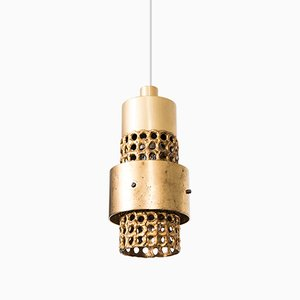 Lampade da soffitto in ottone dorato di Pierre Forsell per Skultuna, anni '50, set di 2