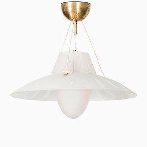 Lampada da soffitto in ottone e vetro inciso, anni '50