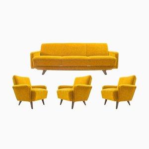 Set da salotto Mid-Century giallo, Italia