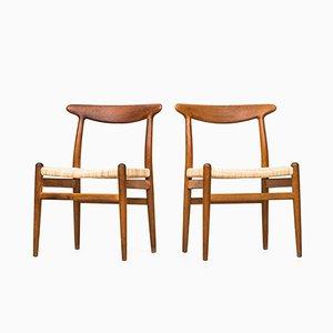W2 Esszimmerstühle von Hans J. Wegner für C.M Madsen, 1950er, 6er Set