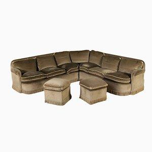 Vintage Italian Angled Sofa with 2 Footstools, 1940s