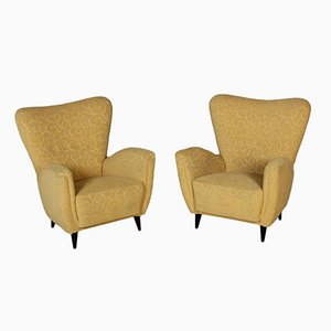 Stained Wood Armchairs, 1950s, Set of 2