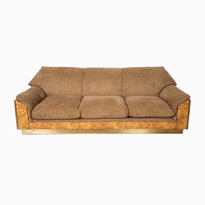 Thuja Burl and Suede Sofa by Willy Rizzo for Mario Sabot, 1970s