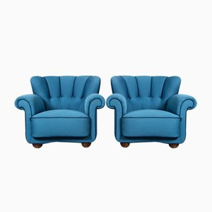 Low Lounge Chairs in Blue Wool, 1940s, Set of 2