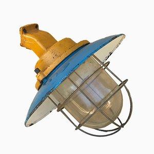 Industrielle Italienische Eisen & Glas Wandlampe, 1950er