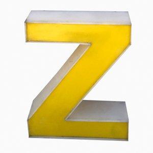 Letra Z vintage de plexiglás amarillo