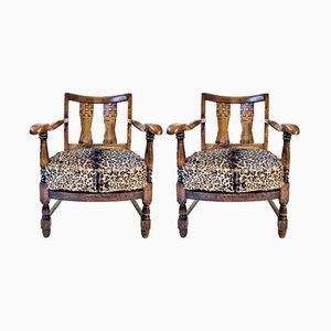 Vintage French Wooden Armchair with Leopard Print Upholstery