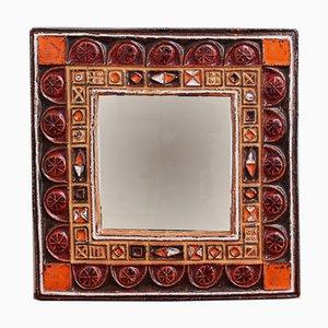 Espejo francés Mid-Century con marco de cerámica
