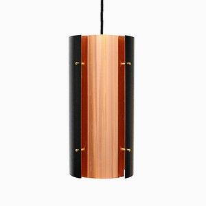 Lámpara colgante cilíndrica de aluminio y cobre de Carl Thore, años 60