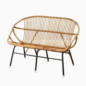Vintage Rattan & Bamboo 2-Seater Sofa from Rohé Noordwolde