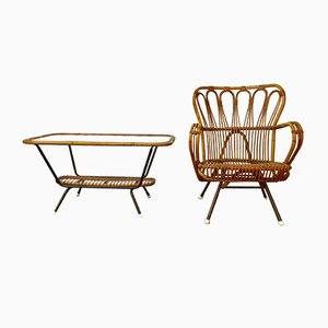 Italian Bamboo & Rattan Table & Easy Chair, 1950s