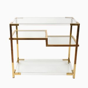 Lucite, Glass, & Gilded Brass Console Table by Romeo Rega, 1970s