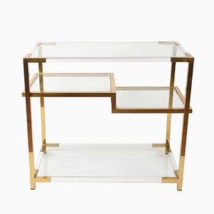 Mesa consola de plexiglás, vidrio y latón dorado de Romeo Rega, años 70