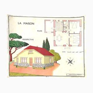 Poster educativo vintage raffiguarante una casa e la sua pianta, anni '60