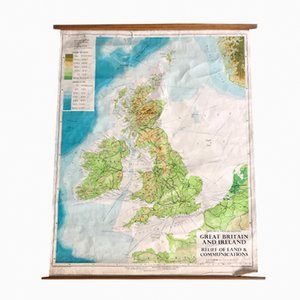Vintage Geographical Great Britain Map from Philip and Son
