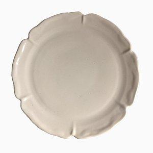 Plato grande de cerámica blanca de Suzanne Ramie para Atelier Madoura, años 60