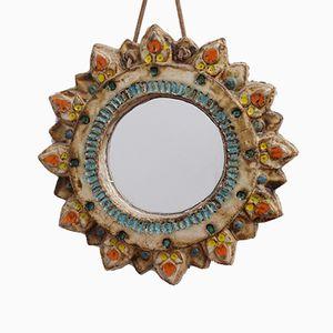 Ceramic Sunburst Mirror from La Roue, 1950s
