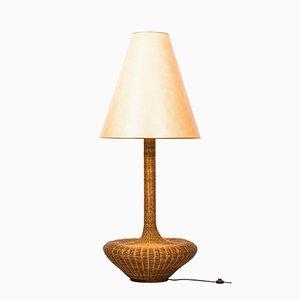 Lámpara de pie de ratán, años 60