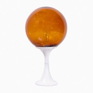 Lámpara de mesa esférica en blanco y ámbar, años 70