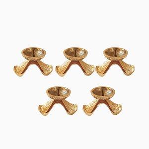 Candelabros brutalistas de bronce dorado macizo. Juego de 5