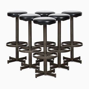 Industrial Bar Stools, 1960s, Set of 6