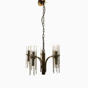 Lámpara de araña Mid-Century con varillas de cristal de Gaetano Sciolari para Ambivalenz