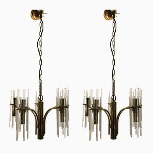 Mid-Century Crystal Rod Chandeliers by Gaetano Sciolari for Ambivalenz, Set of 2