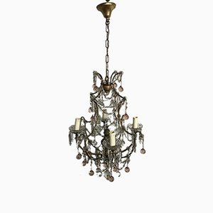 Vintage Chandelier with Pink Murano Drops