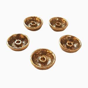 Portacandele brutalisti in bronzo dorato, set di 5
