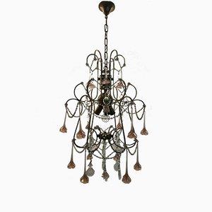 Lámpara de araña vintage con flores de cristal de Murano rosas