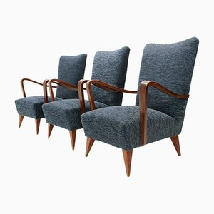 Italian Wooden Armchairs, 1940s, Set of 3