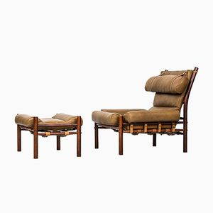 Mid-Century Inca Easy Chair & Stool by Arne Norell