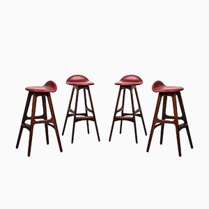 OD-61 Bar Stools by Erik Buch for Odense Møbelfabrik, 1960s, Set of 4