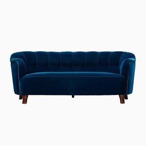 Vintage Beech, Brass & Velvet Sofa