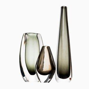 Jarrones Mid-Century de vidrio de Nils Landberg para Orrefors. Juego de 3
