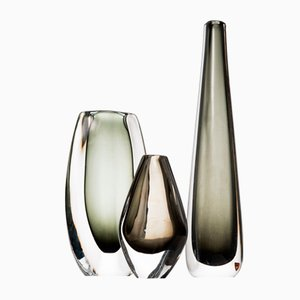 Mid-Century Glass Vases by Nils Landberg for Orrefors, Set of 3