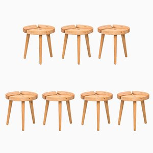 Fir Stools, 1970s, Set of 7