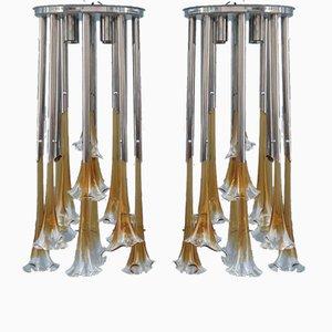 Lámparas de araña de Mazzega, años 70. Juego de 2