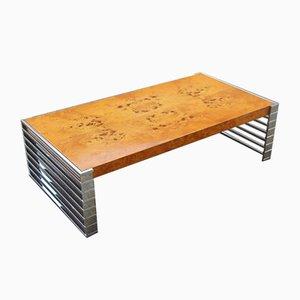 Tavolo minimalista in metallo e legno, anni '70