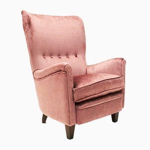 Italienischer Rosa Samt Sessel, 1950er