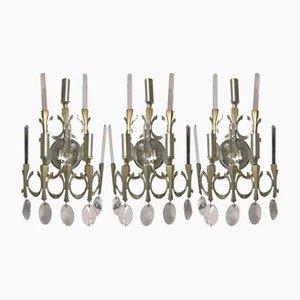 Italienische Mid-Century Kristallglas Wandlampen von Gaetano Sciolari, 3er Set