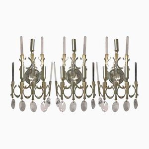 Mid-Century Italian Crystal Wall Sconces by Gaetano Sciolari, Set of 3