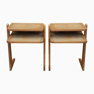Bedside Tables in Oak by Guillerme & Chambron for Votre Maison, 1950s, Set of 2