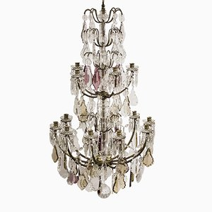 Large Antique French Chandelier with Crystal Leaf Prisms