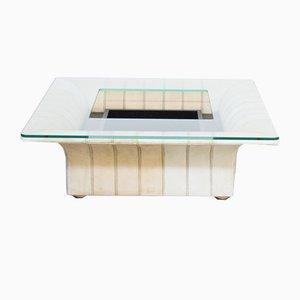 Table Basse en Verre et Cuir de Poltrona Frau, 1960s