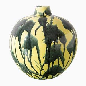 Vaso in ceramica blu e gialla di Guido Andlovitz per Laveno, anni '40