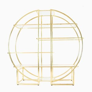 Vintage Circular Brass & Glass Shelving Unit