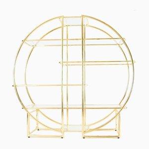 Vintage Circular Brass & Glass Shelving Unit