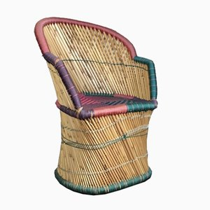 Mid-Century Multi-Colored Wicker Peacock Chair