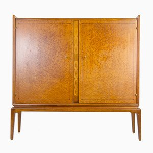 Swedish Cupboard with Walnut & Karelian Birch Inlays, 1940s